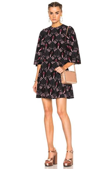 Heart Print Bell Sleeve Mini Dress