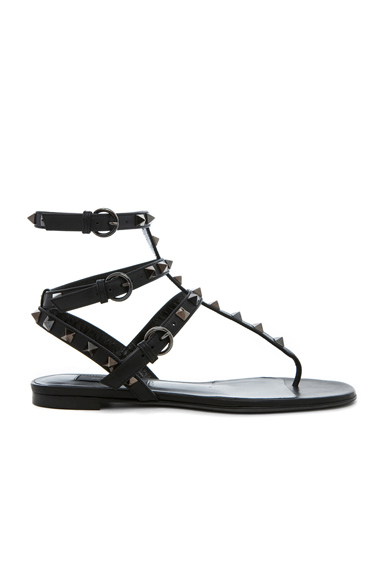 Rockstud Noir Gladiator Leather Sandals T.05