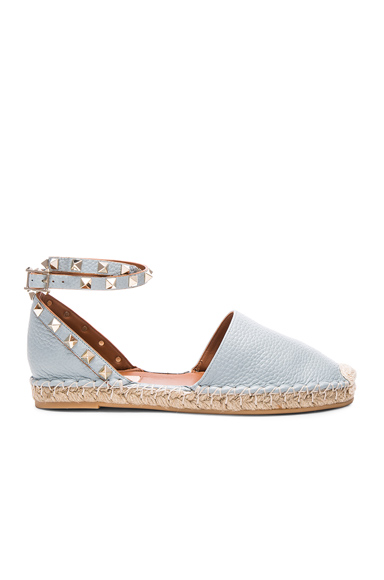Rockstud Double Flat Leather Espadrilles