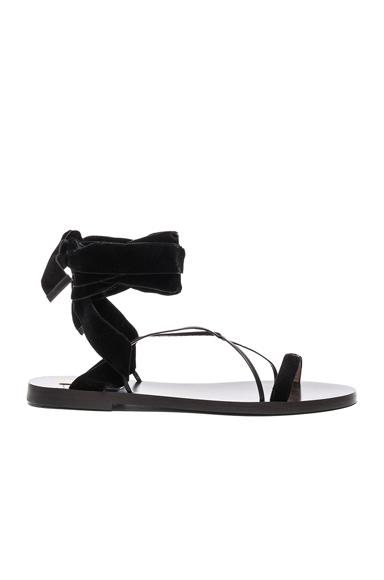 Flat Velour Ankle Tie Sandals