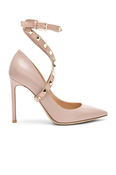 Leather Rockstud Strap Heels
