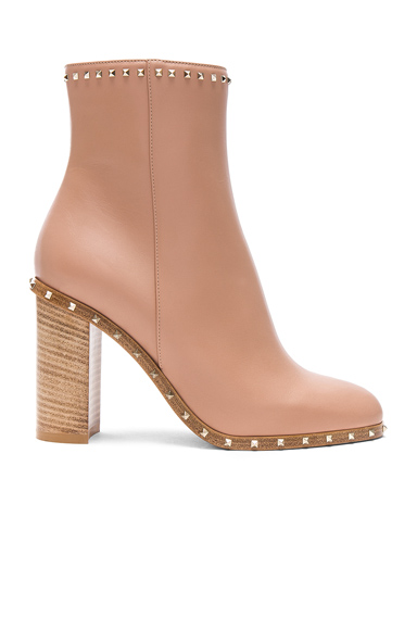 Rockstud Trim Leather Booties