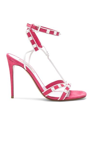 Free White Rockstud Ankle Strap Sandals