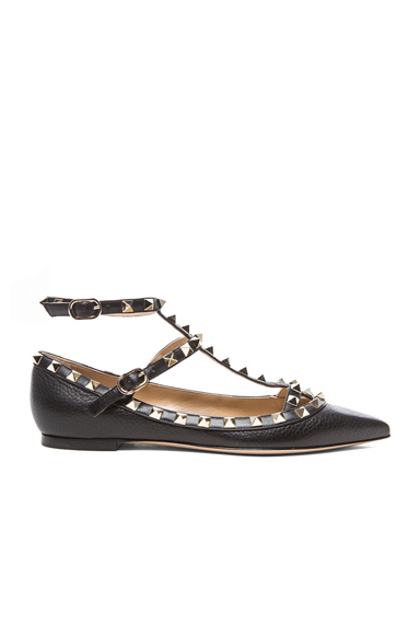 Rockstud Grained Leather Cage Flats