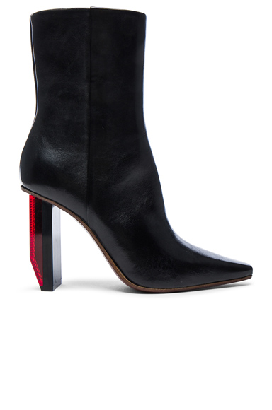 Reflector Leather Ankle Boots
