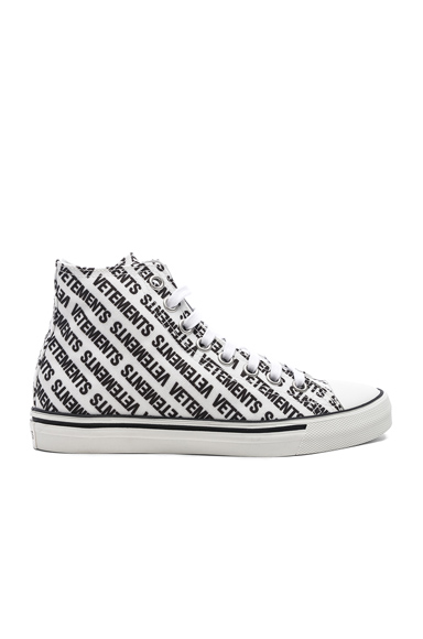 Printed Canvas High Top Sneakers