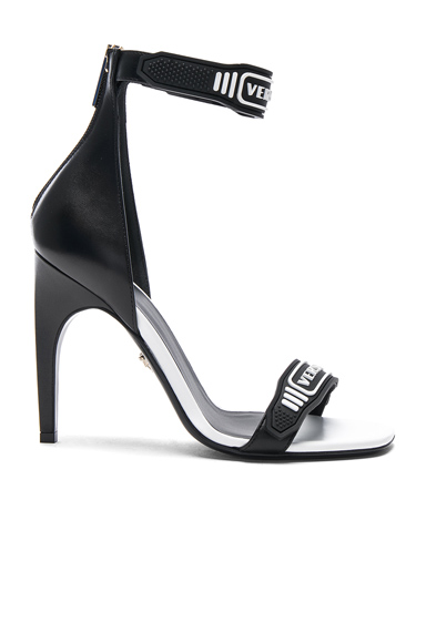 Logo Ankle Strap Leather Sandals