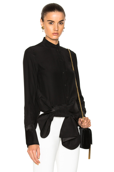 Asymmetric Tux Bow Shirt