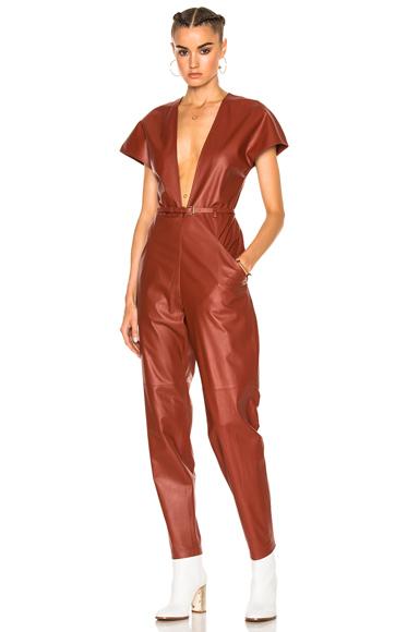 V-Neck Leather Jumpsuit